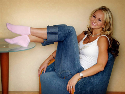 Jennifer Ellison Sitting on Blue ...