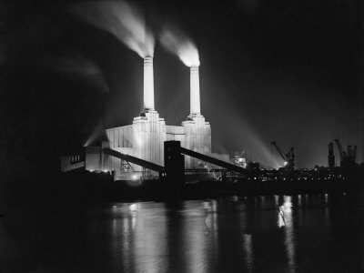Battersea Power Station at night, 1951