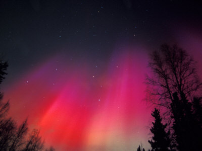 Curtains of Northern Lights above ...