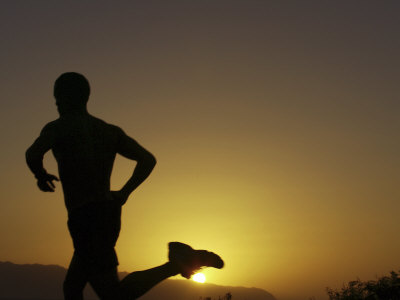 Silhouette of a Man Running