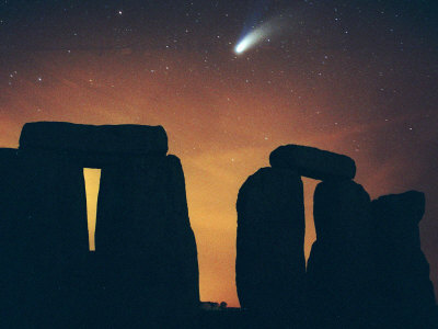 Comet Hale-Bopp Seen Above the Ancient Stone Circle of Stonehenge