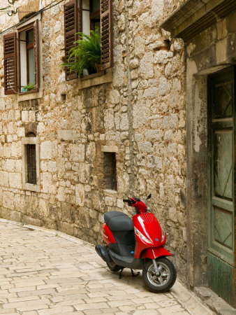 Moped in Alley, Sibenik, Croatia