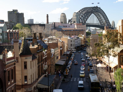 Historic Buildings and Sydney Harbor Bridge, The Rocks, Australia