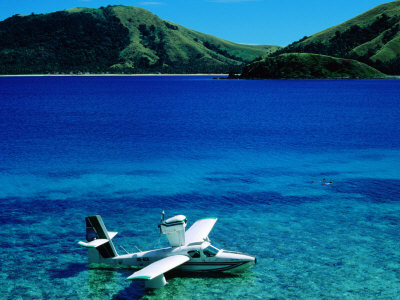 Seaplane in Water Between Yasawa and Sawa-I-Lau Islands, Fiji