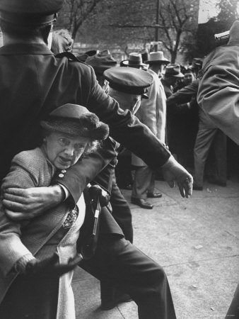 Eisenhower Presidential Campaign Old Lady Held Back by Police with Appearance by Mamie Eisenhower