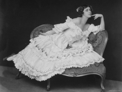 "Russian Ballerina Karsavina Striking Attitude on Couch in Folkine Ballet ""Carnival"""