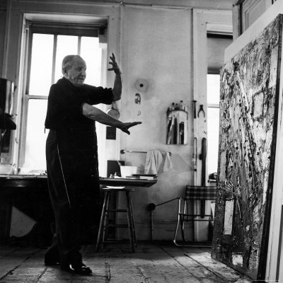 Hans Hofmann Painting in His Studio