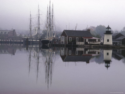 Masted ships in the harbor at Mystic Seaport by Alfred Eisenstaedt.