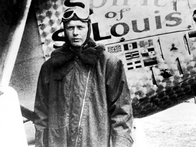 "American Aviator Charles Lindbergh Standing Beside His Plane ""Spirit of Saint Louis"""