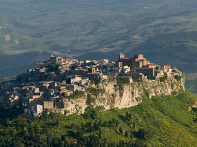 Morning View of Hill Town, Calascibetta, Enna, Sicily, Italy