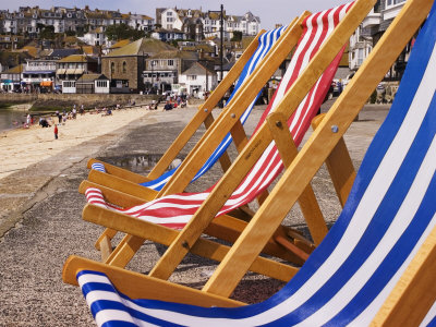 Deck Chairs for Hire on the Beach, St. Ives, United Kingdom