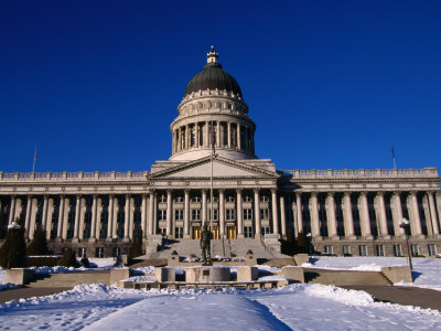 Snow in Front of State Capitol Building, Salt Lake City, Utah, USA