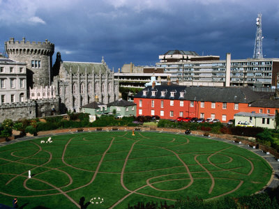The Circular Garden of Dublin Castle with Its Carved Patterns in the Grass, Dublin, Ireland