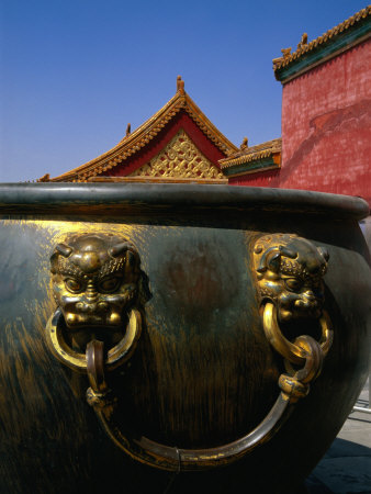 Gilt Pot in Front of Yang Xing Gate, Forbidden City, Beijing, China
