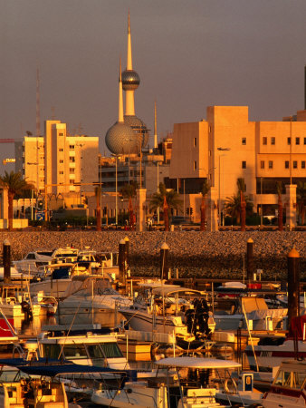 Boats in Sharq Marina with Kuwait Towers in Background, Kuwait