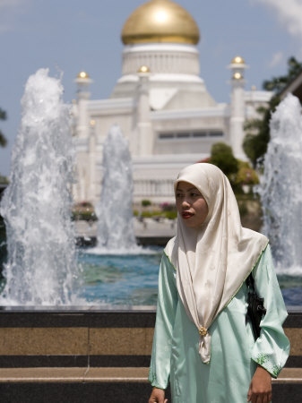 Muslim Woman with Mosque in Background, Omar Ali Saifuddien Mosque, Brunei Darussalam, Brunei
