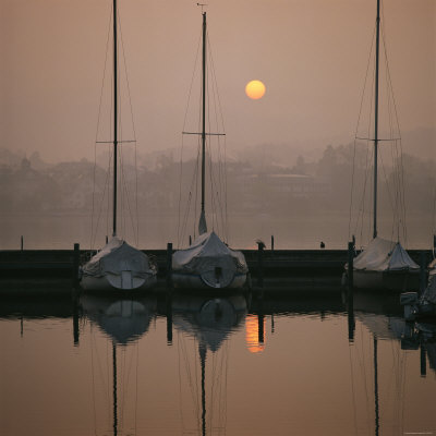Anchored Sailboats at Sunrise in Mythen Quai Harbor