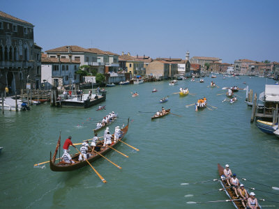 Boats Pass Through Murano During the Annual Venice to Murano Race