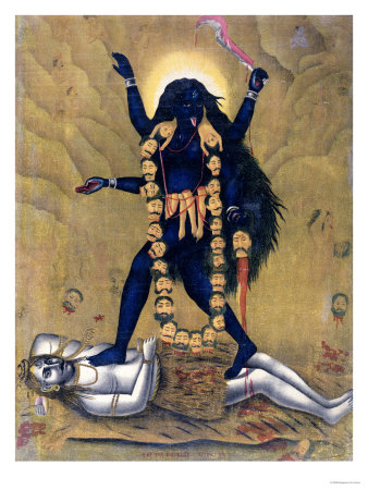 Hindu Goddess Kali Dancing on Siva