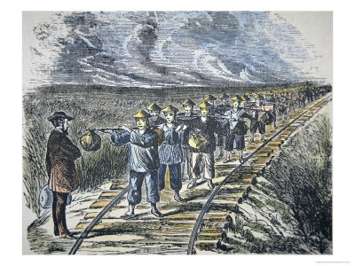 Charles Crocker and Chinese workers building the railroad.