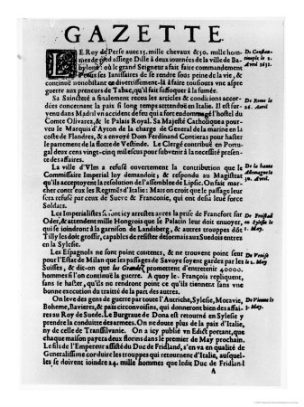 Page of Text from La Gazette Describing the Siege of a Town Near Babylon by King of Persia, 1632