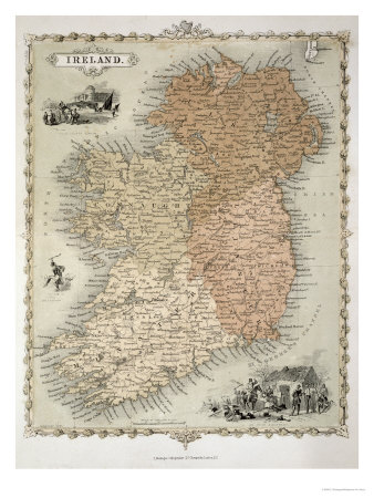 Map of Ireland, Published c.1850