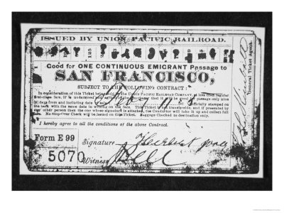 Cheap Emigrant Railroad Ticket, c.1870