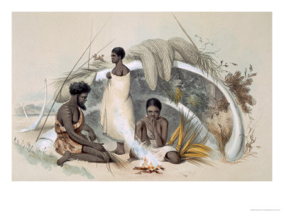 Natives of Encounter Bay, Making Cord For Fishing Nets, from South Australia Illustrated, Pub.1847