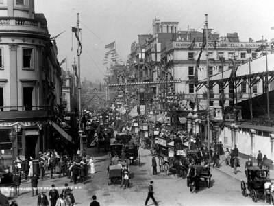 The Strand Decorated For Queen Victoria's Diamond Jubilee