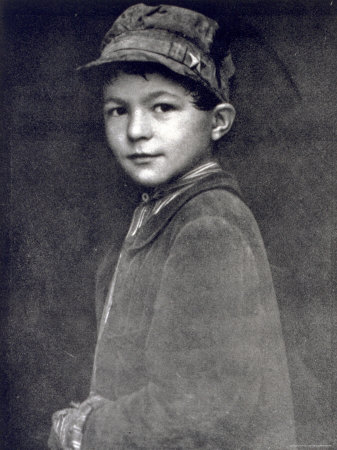 Half-Length Portrait of a Small Working Class Boy in Humble Clothes and Cap