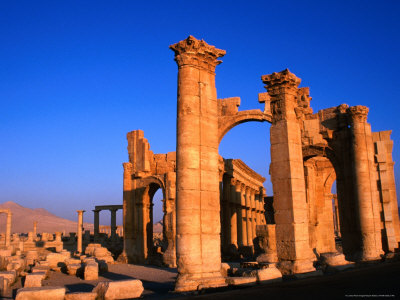 Monumental Gate Ruins at Sunrise, Palmyra, Syria