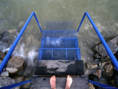 Feet Entering the Thermal Waters of Lake Balaton, Keszthely, Hungary