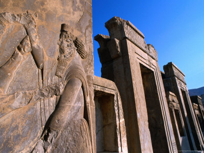 Carved Bas-Relief and Ancient Doorways Persepolis (Takht-E Jamshid), Fars, Iran