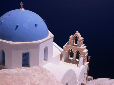 Dome and Bell Tower of Cliffside Church Facing Southern Aegean Sea, Oia, Santorini Island, Greece