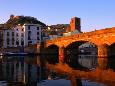 Pontevecchio Bridge Reflected in the River Temo with Castella Malaspina, Bosa, Sardinia, Italy