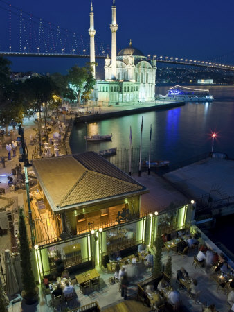Bosphoros River Bridge and Ortakoy Camii Mosque, Ortakoy District, Istanbul, Turkey
