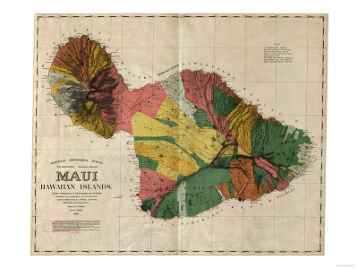 Hawaii - Panoramic Maui Island Map