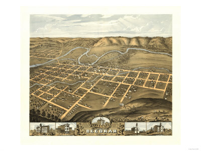 Decorah, Iowa - Panoramic Map