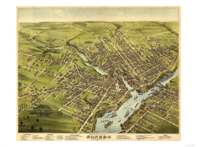 Historical map of Bangor, Maine.