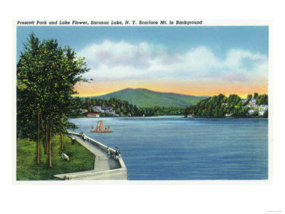 Saranac Lake, NY - Prescott Park View of Lake Flower, Scarface Mt in Distance