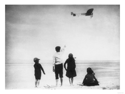 Children Watching Louis Bleriot Flying Plane Photograph - Calais, France