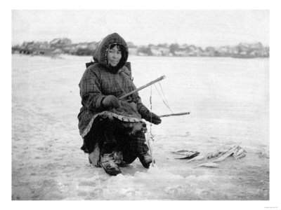 Eskimo Ice Fishing in Nome, Alaska Photograph - Nome, AK