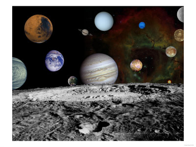 Solar System Montage of Voyager Images Photograph - Outer Space