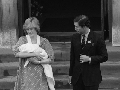Princess Diana Holds Baby Prince William Outside Hospital with Prince Charles