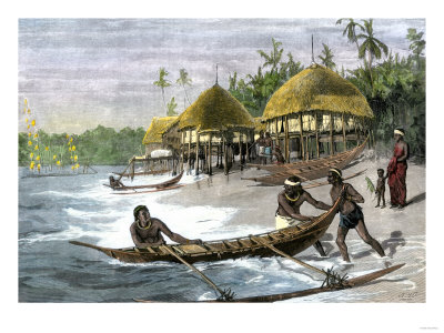 Outrigger caneoes in the Nicobar Islands during the 1800s.