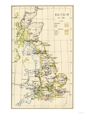 Map of Territory Controlled by Celts, Picts, Anglos, Saxons, and Other Tribes in Britain in 597 Ad