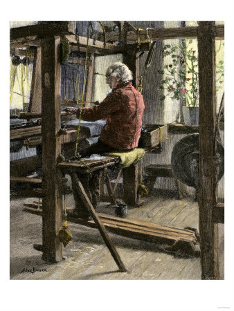 Man Weaving on a Large Hand-Loom