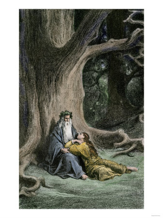 Merlin and Vivian in the Forest, from Legends of King Arthur