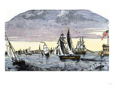 Ships in the Harbor of Charleston, South Caroling in the 1840s.