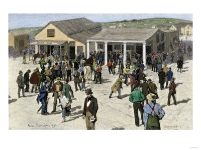 Lining up for mail during California Gold Rush.